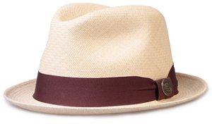 Chapéu Panamá Bege Original Aba Curta Faixa Marrom