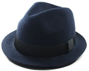 Chapéu Fedora Aba Curta Azul Marinho