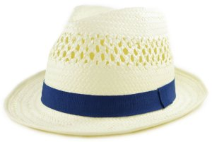 Chapéu Fedora Aba Curta Estilo Panamá Faixa Azul Palha Sintética