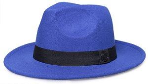 Chapéu Fedora Azul Royal Aba Média 7cm