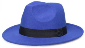 Chapéu Fedora Azul Royal Aba Reta 7cm Feltro Faixa Clássica