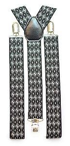 Suspensório Masculino Feminino Preto Branco Estampa H Losangulares