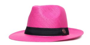 Chapéu Estilo Panamá Rosa Aba Média 6,5cm Palha Faixa Clássica