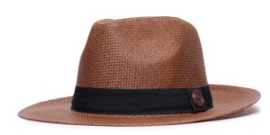 Chapéu Estilo Panamá Marrom Aba Média 6,5cm Palha Faixa Clássica