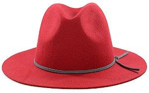 Chapéu Fedora Feltro Aba Média Vermelho Customizado