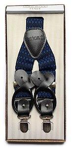 Suspensório Unissex Estampado Azul Marinho e Royal