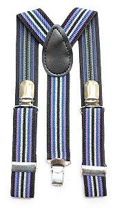 Suspensório Infantil Listrado Preto, branco, azul, roxo e preto