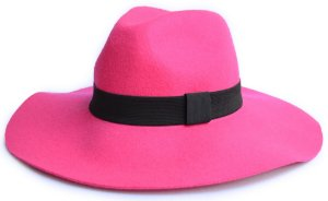 Chapéu Fedora Feltro Aba Grande 10cm Maleável Rosa