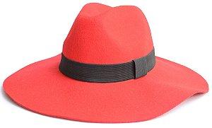 Chapéu Fedora Feltro Aba Grande 10cm Maleável Vermelho