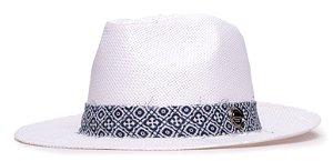 Chapéu Estilo Panamá Branco Aba Média 6,5cm Palha Faixa Ethnic Azul e Branca