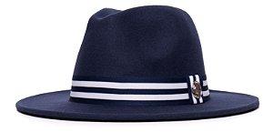 Chapéu Fedora Azul Marinho Aba Média 7cm Faixa Listrada Azul Marinho e Branca