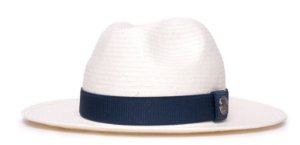 Chapéu Fedora Creme Aba Média 7cm Shantung Faixa Azul Marinho