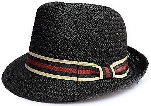 Chapéu de Palha Fedora Aba Curta Vazado Preto Faixa Preta Vermelha