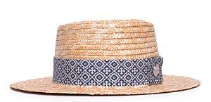 Chapéu Boater Palheta Aba Média Palha Dourada Faixa Ethnic Azul e Branca