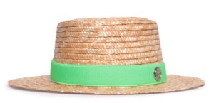 Chapéu Boater Palheta Aba Média Palha Dourada Coleção Elástica Faixa Verde