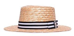 Chapéu Boater Palheta Aba Média Palha Dourada Faixa Listrada Preta e Branca Laço