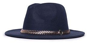 Chapéu Fedora Azul Marinho Aba Média 7cm Coleção Metalizada Dourada