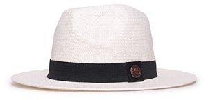 Chapéu Estilo Panamá Creme Aba Média 7cm Palha Shantung Clássico