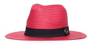 Chapéu Estilo Panamá Vermelho Aba Média 7cm Palha Shantung Clássico