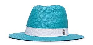 Chapéu Estilo Panamá Azul Aba 7cm Palha Shantung Faixa Couro Branco Coleção Straw