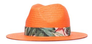 Chapéu Estilo Panamá Laranja Aba 7cm Palha Shantung Faixa XIII Coleção Estampada