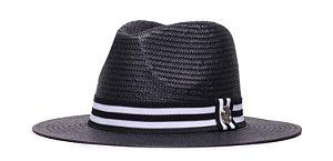 Chapéu Estilo Panamá Preto Aba 7cm Palha Shantung Coleção Stripes Faixa Preta e Branca