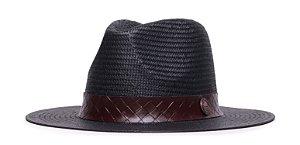 Chapéu Estilo Panamá Preto Aba 7cm Palha Shantung Faixa Marrom Coleção Macramê