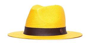 Chapéu Estilo Panamá Amarelo Aba 7cm Palha Shantung Faixa Marrom Coleção Skin