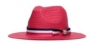 Chapéu Estilo Panamá Vermelho Aba 7cm Palha Shantung Faixa Tricolor Laço Coleção Stripes