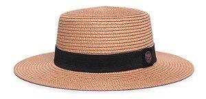 Chapéu Palheta Caramelo Aba Maleável 7cm Palha Sintética Classico