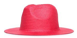Chapéu Estilo Panamá Vermelho Aba 7cm Palha Shantung LISO