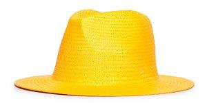 Chapéu Estilo Panamá Amarelo Aba 7cm Palha Shantung LISO