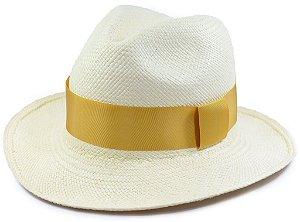 Chapéu Panamá Aba Média Faixa Dourada Customizada