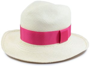 Chapéu Panamá Aba Média Faixa Rosa Pink Customizada