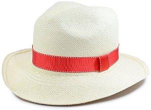 Chapéu Panamá Aba Média Faixa Vermelha Fina Customizada