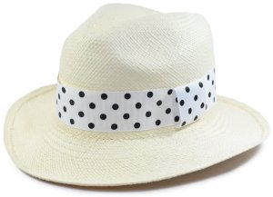 Chapéu Panamá Aba Média Faixa Branca com Bolinhas Customizada