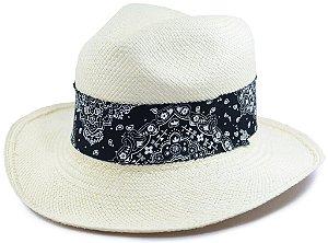 Chapéu Panamá Aba Grande Faixa Preta Desenhada Customizada