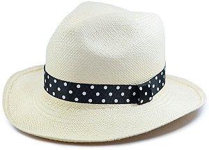 Chapéu Panamá Aba Média Faixa Preta com Bolinhas Customizada