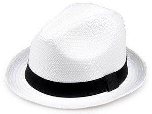 Chapéu Fedora Aba Curta Palha Shantung Branco