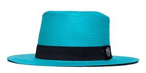 Chapéu Palheta Azul Aba Média 7cm Palha Shantung Clássico