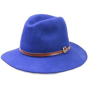 Chapéu Fedora Azul Royal Feminino Aba Maleável 7 cm 100% lã Couro Caramelo