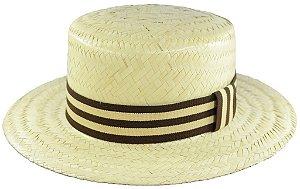 Chapéu de Palha Palheta Clássico Unissex Faixa Listrada Marrom Bege