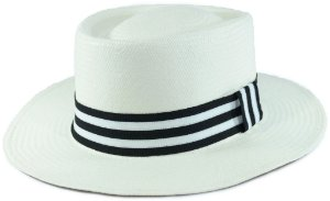 Chapéu Panamá PorkPie Creme Faixa Listrada Preta Branca