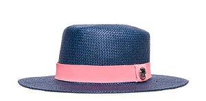 Chapéu Palheta Azul Marinho Aba Média 7cm Palha Shantung  Faixa Rosa Coleção Suede