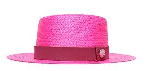 Chapéu Palheta Rosa Aba Média 7cm Palha Shantung  Faixa Vinho Coleção Suede