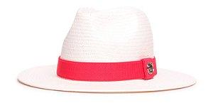 Chapéu Estilo Panamá Creme Aba 7cm Palha Shantung Coleção Elástica