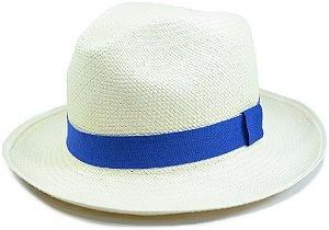 Chapéu Panamá Aba Média Faixa Azul Royal Customizada