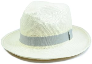 Chapéu Panamá Aba Média Faixa Cinza Clara Customizada