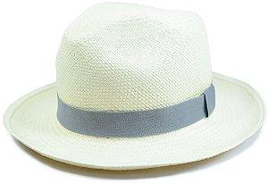 Chapéu Panamá Aba Média Faixa Cinza Escura Customizada