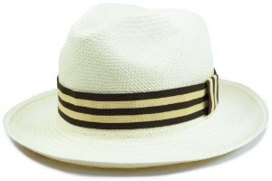 Chapéu Panamá Aba Média Faixa Listrada Marrom e Bege Customizada